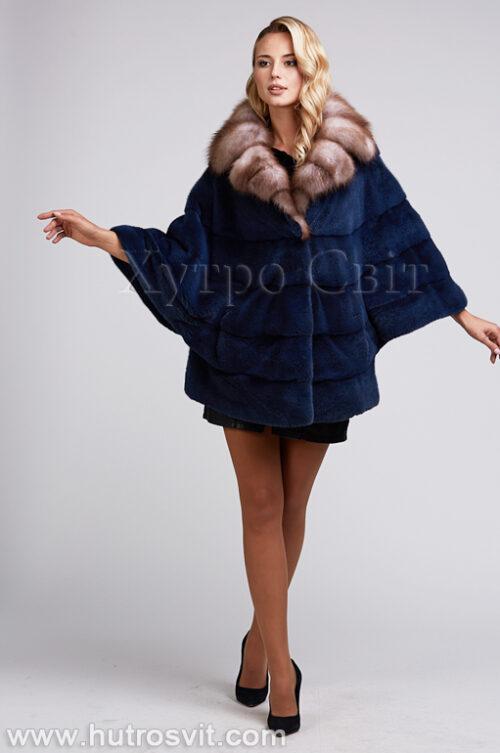 продукция производителя  ХутроСвіт Тисмениця 2021 Шуба летючая мыш из норки цвета джинс, воротник куница, фото 1