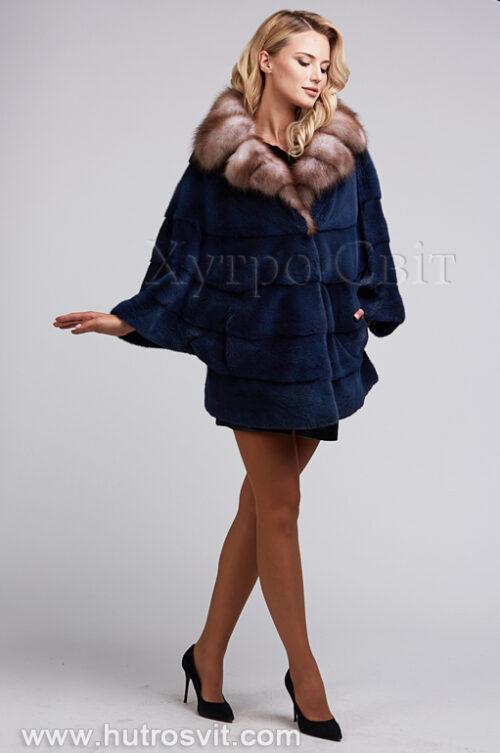 продукция производителя  ХутроСвіт Тисмениця 2021 Шуба летючая мыш из норки цвета джинс, воротник куница, фото 3