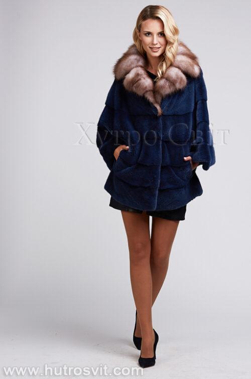 продукция производителя  ХутроСвіт Тисмениця 2021 Шуба летючая мыш из норки цвета джинс, воротник куница, фото 4