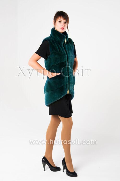 Норковые жилетки от ХутроСвит Тысменица.Модель зеленого цвета., фото 2