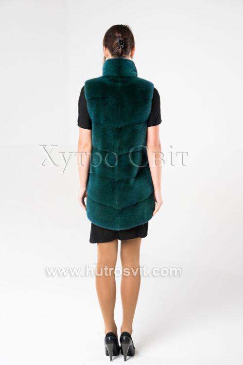 продукция производителя  ХутроСвіт Тисмениця 2021 Норковая жилетка на замке-молнии зеленого цвета, фото 3