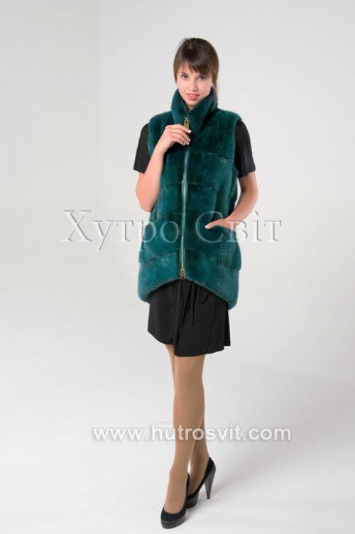 продукция производителя  ХутроСвіт Тисмениця 2021 Норковая жилетка на замке-молнии зеленого цвета, фото 4