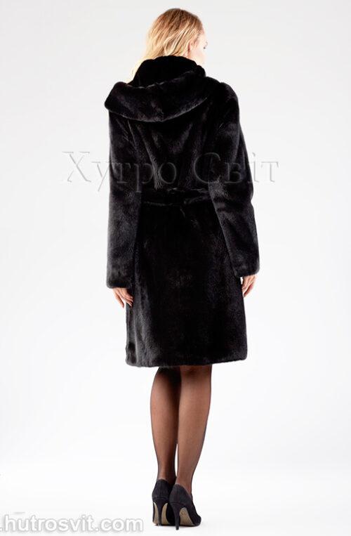Норковая шуба, черная с поясом и капюшоном, фото 3