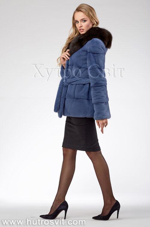продукция производителя  ХутроСвіт Тисмениця 2021 Курточка из норки, цвет – джинс, капюшон из куницы, фото 1