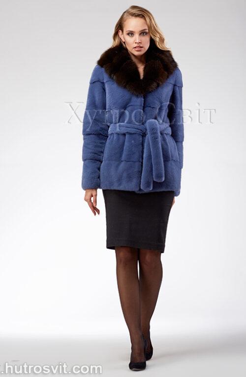 продукция производителя  ХутроСвіт Тисмениця 2021 Курточка из норки, цвет – джинс, капюшон из куницы, фото 2