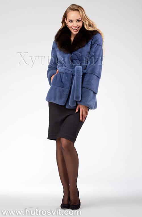 продукция производителя  ХутроСвіт Тисмениця 2021 Курточка из норки, цвет – джинс, капюшон из куницы, фото 3