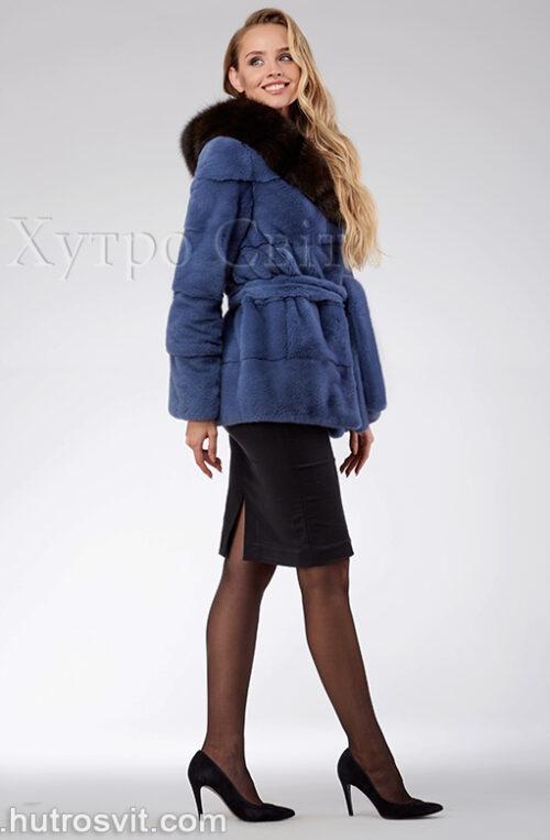 продукция производителя  ХутроСвіт Тисмениця 2021 Курточка из норки, цвет – джинс, капюшон из куницы, фото 4
