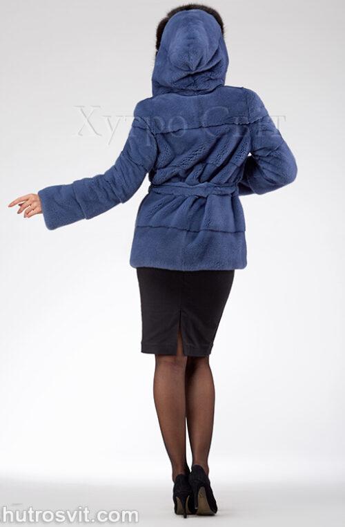 продукция производителя  ХутроСвіт Тисмениця 2021 Курточка из норки, цвет – джинс, капюшон из куницы, фото 5