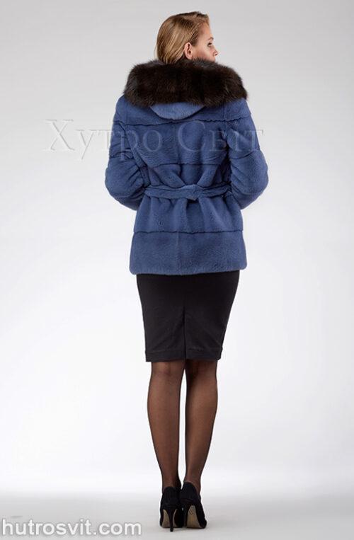 продукция производителя  ХутроСвіт Тисмениця 2021 Курточка из норки, цвет – джинс, капюшон из куницы, фото 6