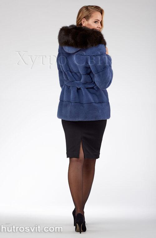 продукция производителя  ХутроСвіт Тисмениця 2021 Курточка из норки, цвет – джинс, капюшон из куницы, фото 7