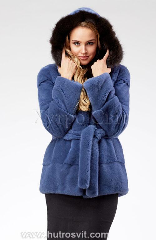 продукция производителя  ХутроСвіт Тисмениця 2021 Курточка из норки, цвет – джинс, капюшон из куницы, фото 8