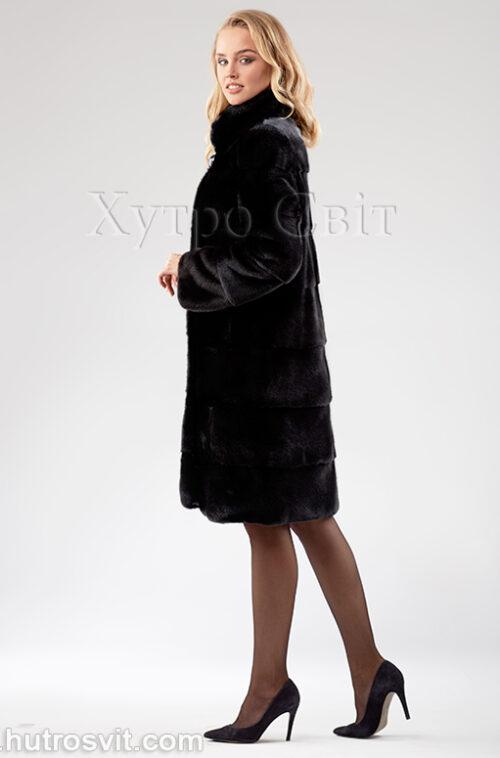 Норковая шуба из скандинавской черной норки с воротником стойка, поперечный пошив