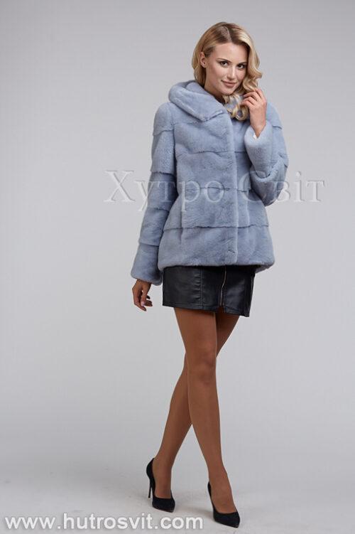 продукция производителя  ХутроСвіт Тисмениця 2020 Норковый полушубок с капюшоном из норки нолубого цвета, фото 1