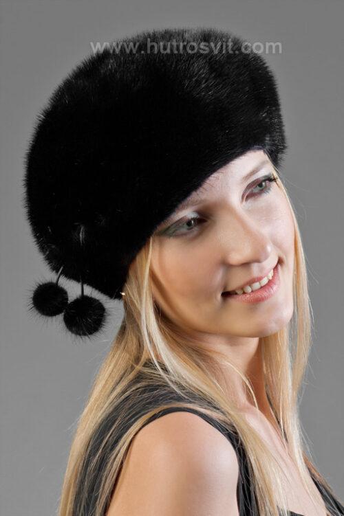 Меховые шапки: мягкий норковый берет - мех норка скандинавская, цвет черный, фото 1