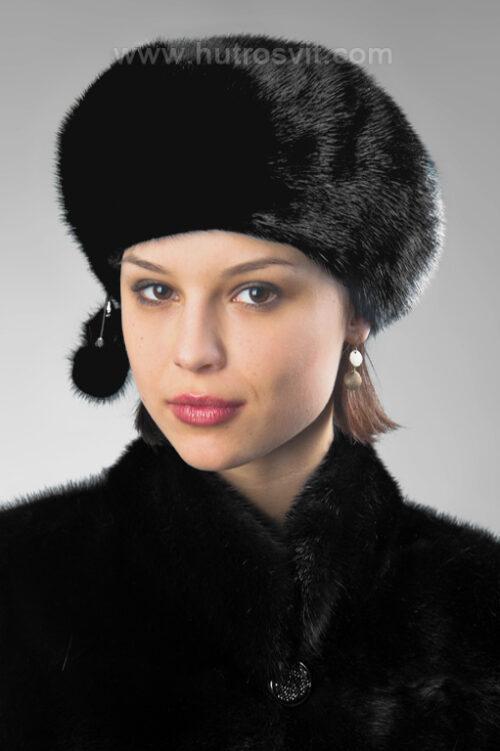 Модные головные уборы из меха: женский берет, цвет черный - мех скандинавской норки. Размер регулируется резинкой, фото 2