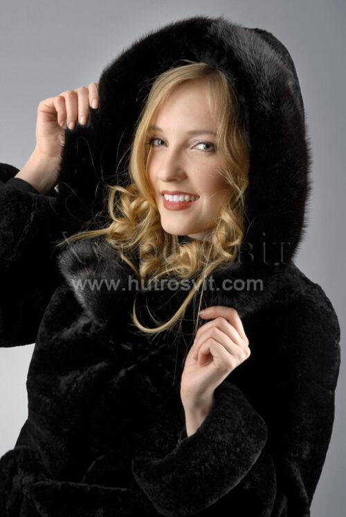 Курточка (півшубок) із мутону, з капюшоном оздобленим норкою,, фото 1