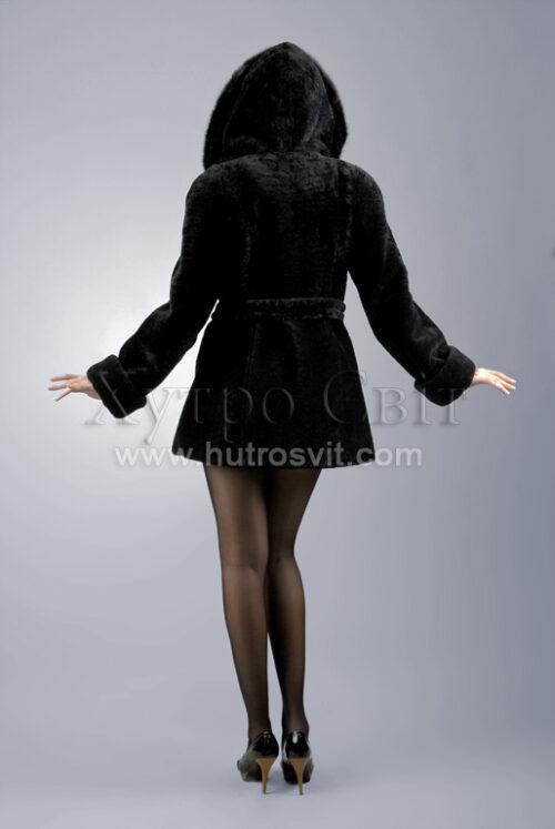 Курточка (півшубок) із мутону, з капюшоном оздобленим норкою,, фото 3