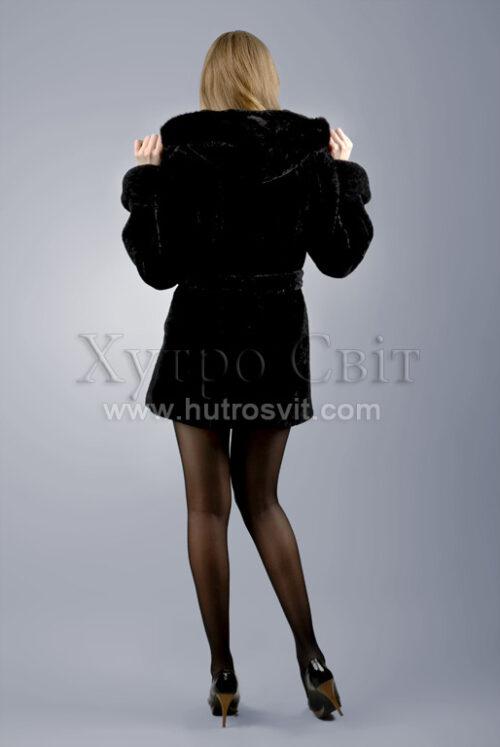 Курточка (півшубок) із мутону, з капюшоном оздобленим норкою,, фото 4