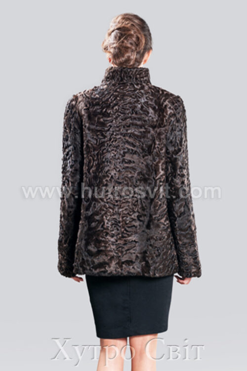 Полушубок каракулевый, цвет коричневый, воротник стойка,, фото 2