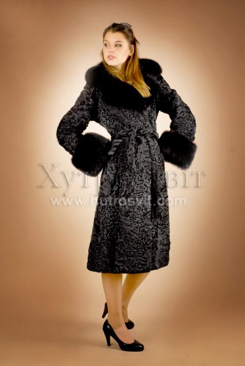 Шуби каракуль, фасон пальто, комір англійський песець, ціни, Фото 1