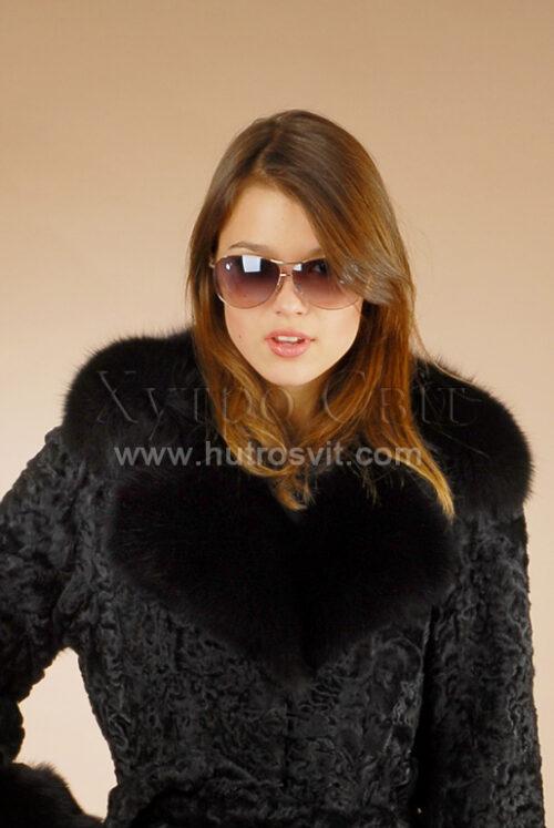 Шуба-пальто: хутро-каракуль + англійський комір песець, фото та ціни на каракулеві шуби київ, фото 3