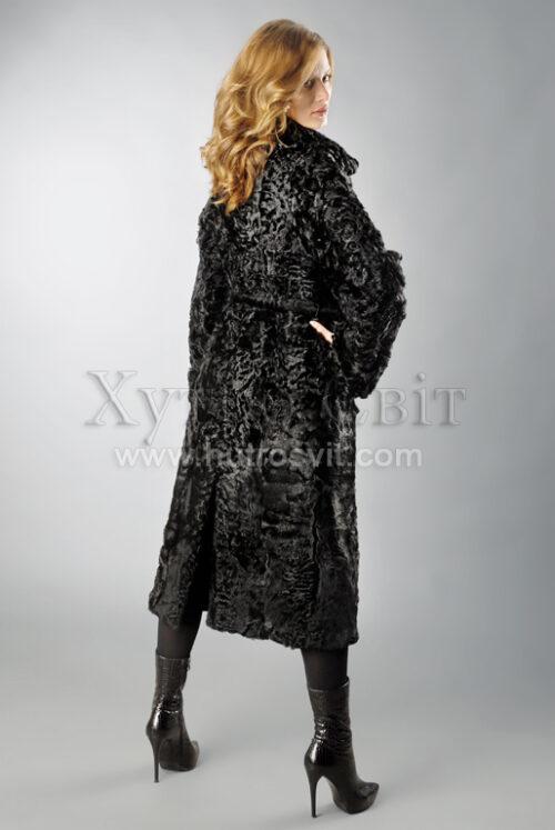 Шуба-пальто каракуль, двійний комір чорного кольору, фото 2