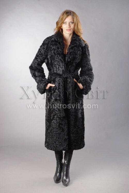Шуба-пальто із каракуля з подвійним англійським коміром, фото 3
