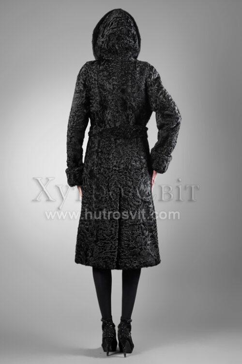 Шуба-пальто з капюшоном-хутро каракуль, на капюшон норка,, фото 2