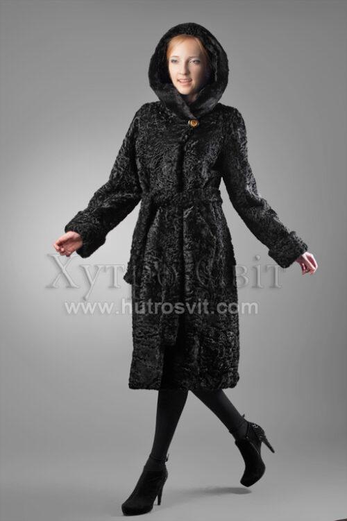 Шуба-пальто з капюшоном-хутро каракуль, на капюшон норка, Фото 1