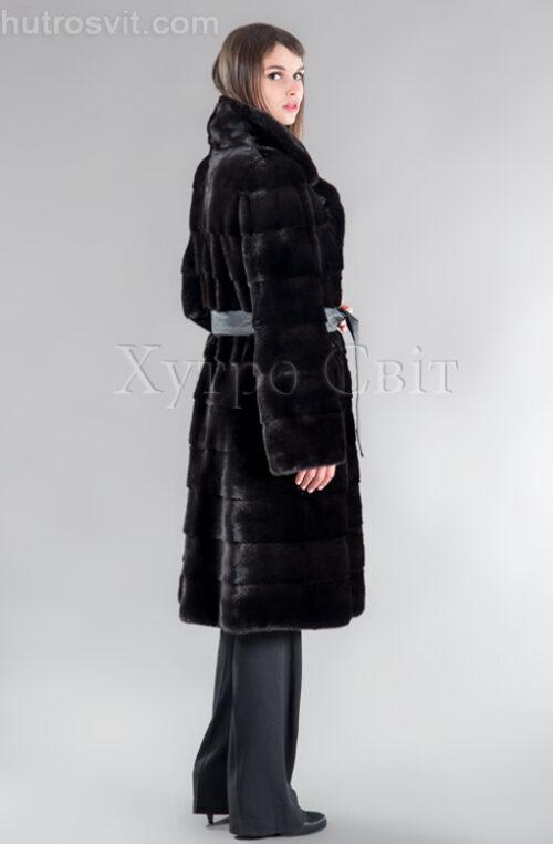 Шуба норкова поперечка, англійський комір, хутро Блекглама, фото 3