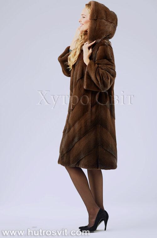 продукция производителя  ХутроСвіт Тисмениця 2020 Норковая шуба трапеция с капюшоном цвета орех, фото 4