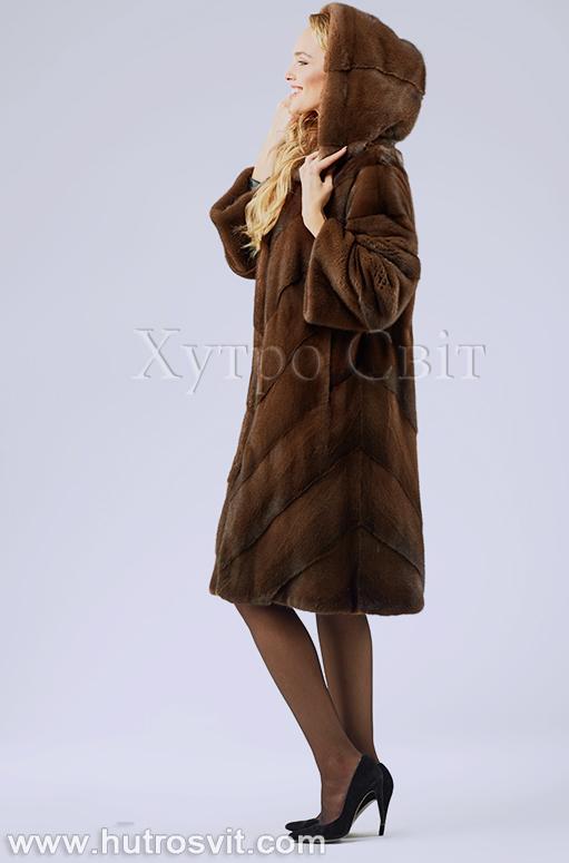 продукція виробника ХутроСвіт Тисмениця 2020 Норкова шуба з капюшоном, колір горіх Фото 4