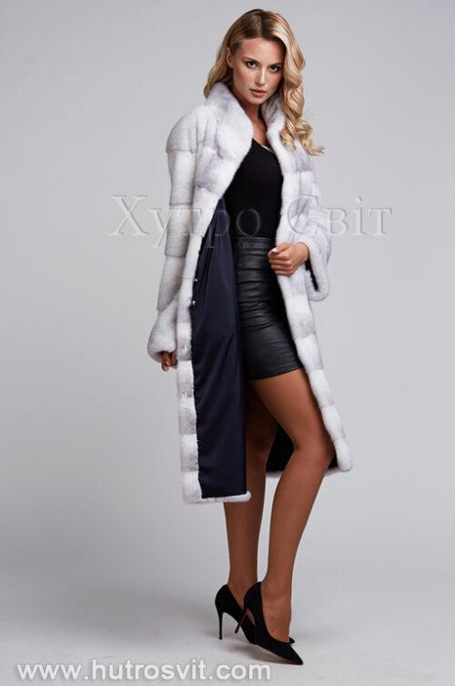 продукція виробника ХутроСвіт Тисмениця 2021 Шуба із аукціонної норки хрестовки, модель поперечка, фото 6