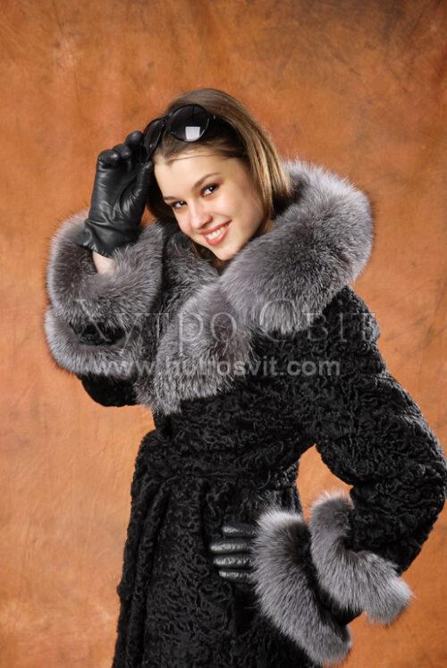 Шуба-пальто, натуральне хутро каракуль, на комірі blue frost,, фото 1