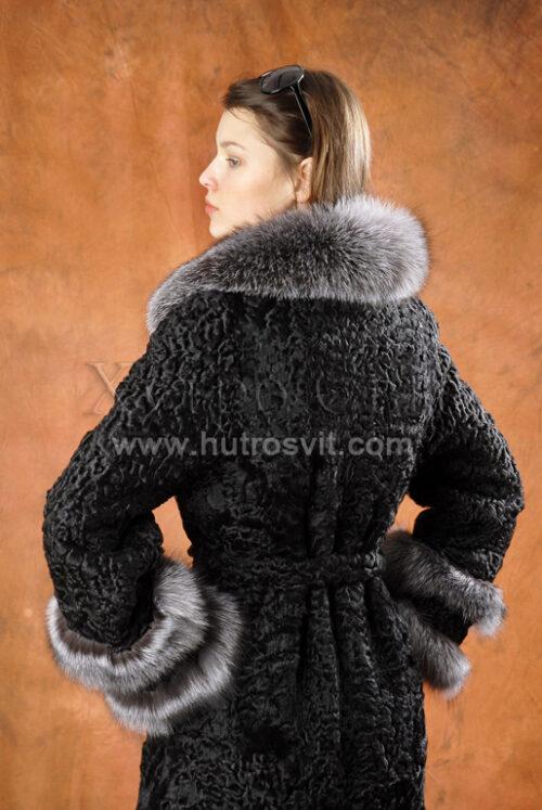 Пальто, англійський комір blue frost, хутро шуби - каракуль,, фото 2