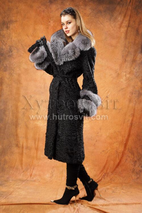 Шуби Тисмениця. Пальто каракуль трохи нижче колін + комір blue frost,, фото 3