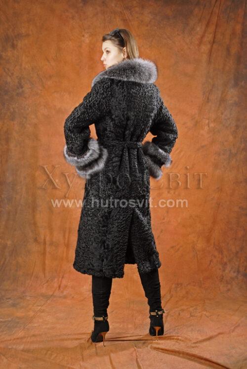 каракулеві шуби: чорне пальто каракуль, комір та манжети - Blue Frost,, фото 5