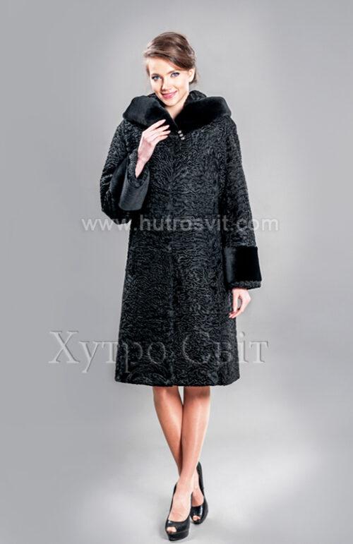 Каракулевая шуба, прямое пальто с капюшоном и отделкой из мутона,, фото 1