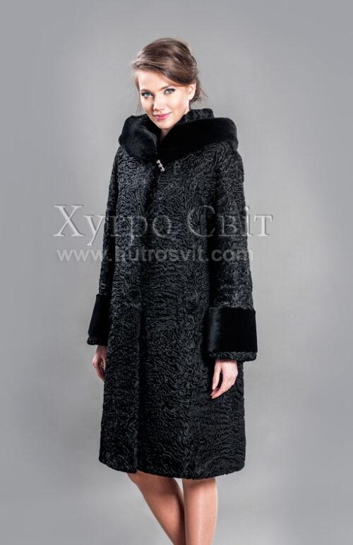 Каракулевая шуба, прямое пальто с капюшоном и отделкой из мутона,, фото 2