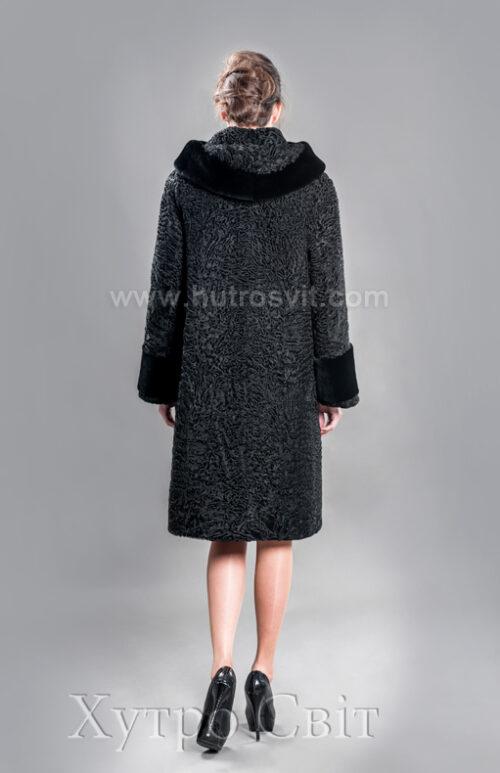 Каракулевая шуба, прямое пальто с капюшоном и отделкой из мутона,, фото 3