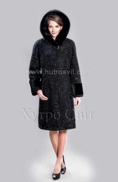 Каракулевая шуба, прямое пальто с капюшоном и отделкой из мутона,, фото 4