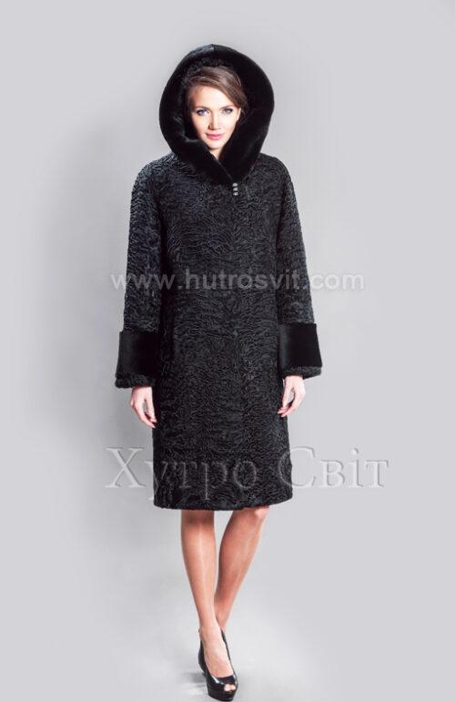 Каракулевая шуба, прямое пальто с капюшоном и отделкой из мутона,, фото 5