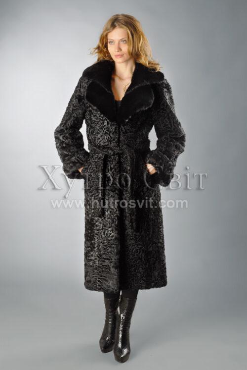 Шуба-пальто із каракуля, комір норка, Фото 1