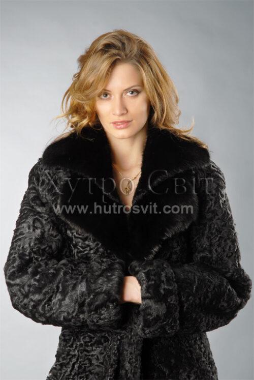 Шуба пальто з натурального хутра каракуль, комір норка,, фото 2