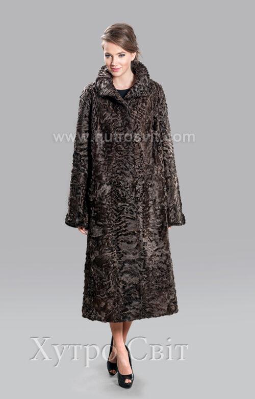 Шуба коричневий каракуль, трапеція, комір апаш, Фото 1