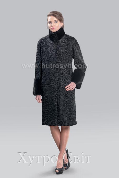 каракулева шуба пальто, комір стійка та манжети норка, Фото 1