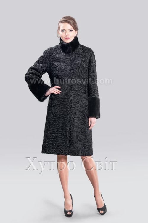 каракулевая шуба пальто, воротник стойка и манжеты норка,, фото 2