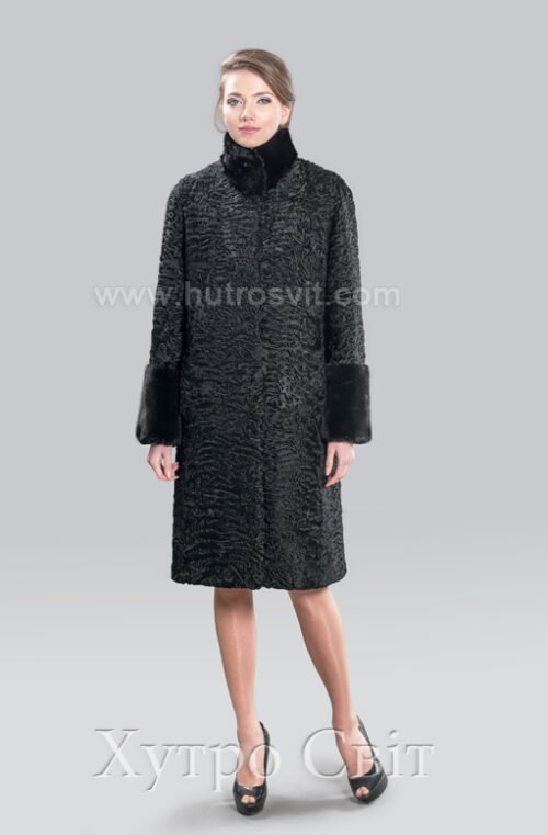 каракулевая шуба пальто, воротник стойка и манжеты норка,, фото 3