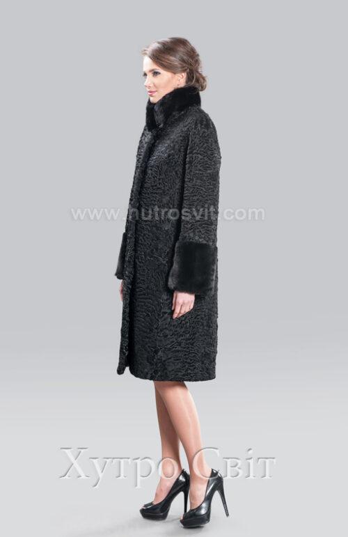 каракулевая шуба пальто, воротник стойка и манжеты норка,, фото 4