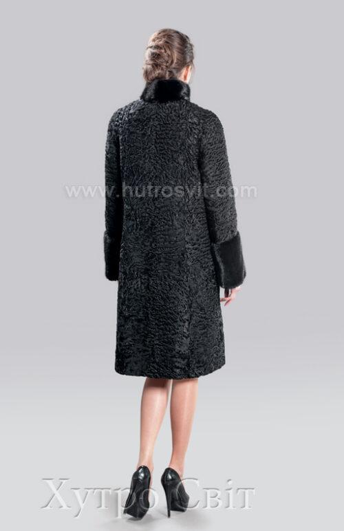 каракулевая шуба пальто, воротник стойка и манжеты норка,, фото 5